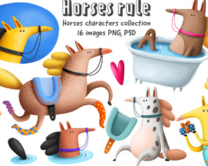 Collection of Cartoon Horses 2744176手绘卡通马图片素材
