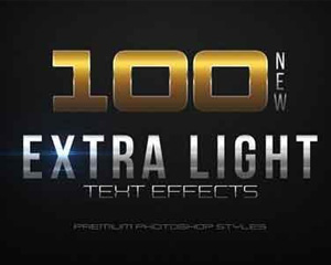 100 Extra Light Text Effects文字样式PS样式模板